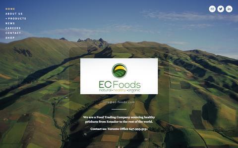 Screenshot of Home Page ec-foods.com - EC Foods: Healthy Products from Ecuador - captured Sept. 26, 2014
