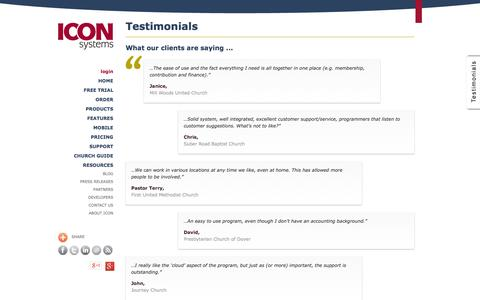 Screenshot of Testimonials Page iconcmo.com - Church Management Software by Icon Systems | Pricing | On line Church Software - captured Oct. 10, 2014
