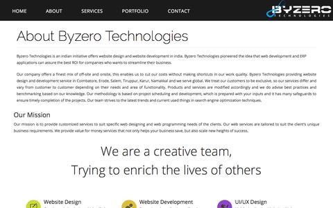Screenshot of About Page byzerotechnologies.com - Website Designing Company in Tirupur, Website Designing and Development Company in Tirupur - captured Aug. 5, 2018