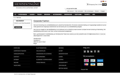 Screenshot of Services Page hemdenonline.nl - Services - captured Sept. 29, 2014