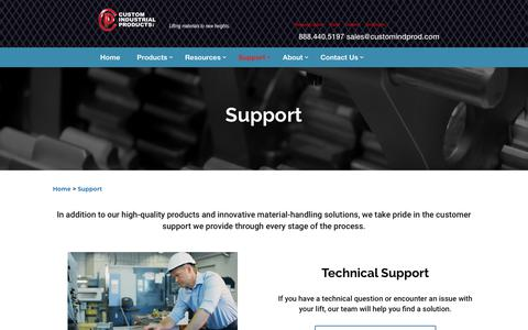 Screenshot of Support Page customindprod.com - Vertical Reciprocating Conveyor Support | Custom Industrial Products - captured Jan. 26, 2020