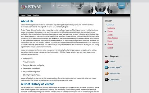 Screenshot of About Page vistaar.com - About Vistaar | Pricing Software | Price and Promotion Software - captured Oct. 7, 2014
