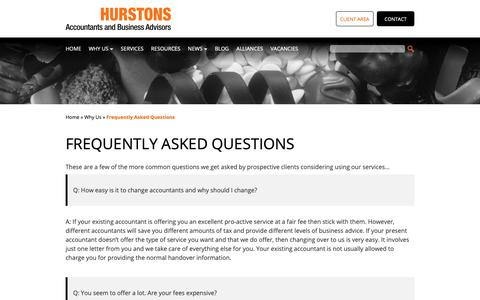 Screenshot of FAQ Page hurstons.com - Frequently Asked Questions - Hurstons Accountants - captured Sept. 30, 2018