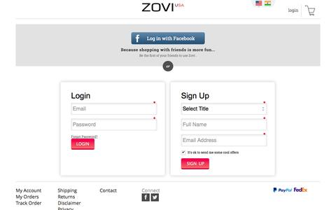 Screenshot of Login Page zovi.com - Login - ZOVI - captured Oct. 29, 2014