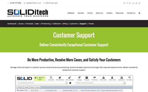 Screenshot of Support Page soliditech.com - Customer Support | Customer support management software - SOLIDitech - captured Aug. 27, 2016