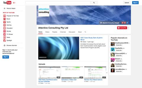 Screenshot of YouTube Page youtube.com - Attentive Consulting Pty Ltd  - YouTube - captured Oct. 23, 2014