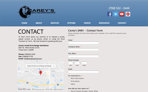 Screenshot of Contact Page careyscentral.com - Carey's Gun Range Ventilation | Tinley Park, IL | CONTACT - captured Sept. 26, 2018