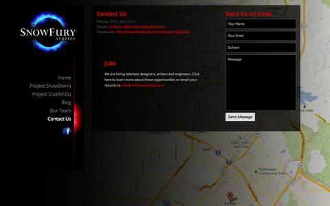 Screenshot of Contact Page snowfurystudios.com - Contact Us | - captured Oct. 26, 2014