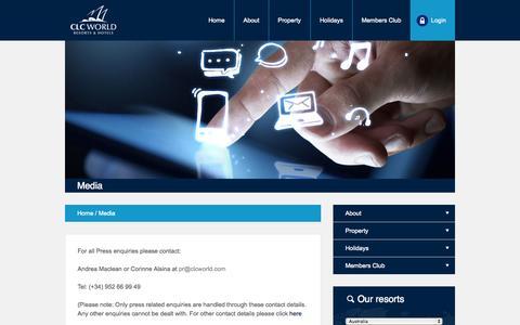Screenshot of Press Page clcworld.com - Media - CLC World Resorts & Hotels - captured Oct. 2, 2014
