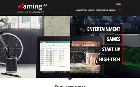 Screenshot of Home Page warningup.com - Warning Up - The games, lifestyle an high-tech agency - captured Sept. 23, 2018