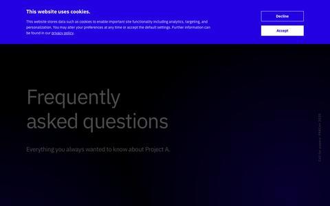 Screenshot of FAQ Page project-a.com - FAQ | Project A - captured Jan. 20, 2020