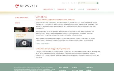 Screenshot of Jobs Page endocyte.com - Endocyte Careers—Help Us Work on New Cancer Treatments - captured July 20, 2014