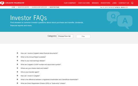 Screenshot of FAQ Page colgatepalmolive.com - Investor FAQs   Colgate-Palmolive Company - captured Dec. 18, 2018