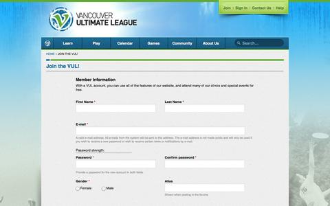 Screenshot of Signup Page vul.ca - Join the VUL! | Vancouver Ultimate League - captured Oct. 27, 2014