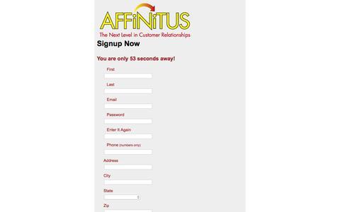 Screenshot of Signup Page affinitus.com - Affinitus - The Next Level in Customer Relationships - v. - captured Dec. 22, 2015