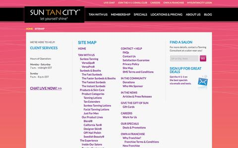 Screenshot of Site Map Page suntancity.com - Site Map - captured Feb. 23, 2016