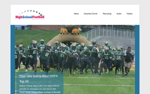 Screenshot of Menu Page highschoolfootballamerica.com - High School Football America - news, scores, statistics, videos - captured Sept. 30, 2014