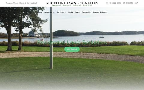 Screenshot of Home Page shorelinelawnsprinklers.com - Lawn Sprinklers CT, Lawn Sprinklers RI - captured June 17, 2016