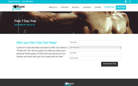 Screenshot of Trial Page shape2tone.com - Free 7 Day Trial | Shape2Tone | Personal Training in Orange, CA - captured Nov. 15, 2018
