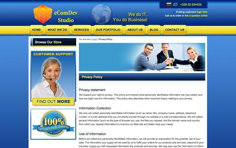 Screenshot of Privacy Page ecomdevstudio.com - Privacy Policy - captured Oct. 3, 2014