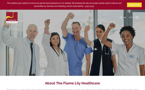 Screenshot of About Page theflamelily.co.uk - Uk's Leading Nursing Recruitment Agency - The Flame Lily - captured Oct. 20, 2018