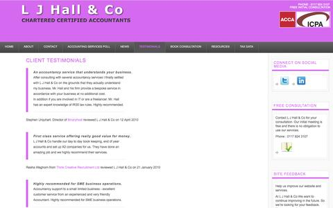 Screenshot of Testimonials Page ljhallandco.co.uk - L J Hall & Co - Accountants Bristol. Client Testimonials. - captured Oct. 1, 2014