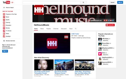Screenshot of YouTube Page youtube.com - HellhoundMusic  - YouTube - captured Oct. 22, 2014