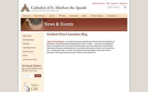 Screenshot of stmatthewscathedral.org - Cardinal Wuerl Launches Blog   Cathedral of St. Matthew the Apostle in Washington - captured July 23, 2016