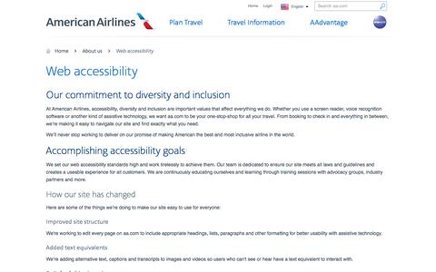 Web accessibility − About us − American Airlines