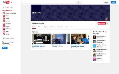 Screenshot of YouTube Page youtube.com - Thisismission  - YouTube - captured Oct. 26, 2014
