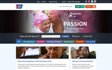 Screenshot of Login Page cancer.org - American Cancer Society | Information and Resources for Cancer: Breast, Colon, Lung, Prostate, Skin - captured Oct. 30, 2016
