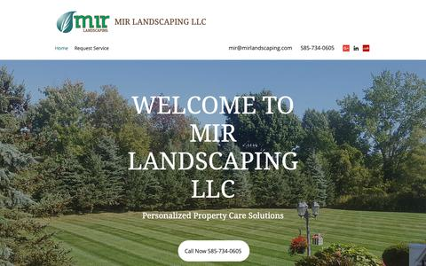 Screenshot of Home Page mirlandscaping.com - Property maintenance | Penfield NY | MIR Landscaping LLC. - captured Oct. 18, 2018