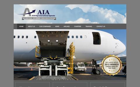 Screenshot of Home Page aiacargo.com - Airbridge International Agencies - captured Sept. 10, 2015