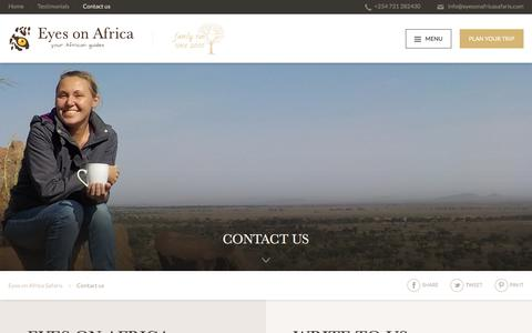 Screenshot of Contact Page eyesonafricasafaris.com - Contact us - Eyes on Africa Safaris - captured Nov. 14, 2016