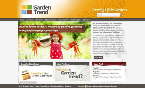 Screenshot of Home Page gardentrend.com.au - Garden Trend   Creating Life in Gardens - captured Sept. 29, 2014