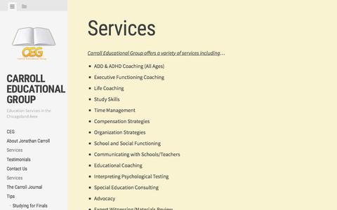 Screenshot of Services Page carrolleducationalgroup.com - Services | Carroll Educational Group - captured Oct. 25, 2016