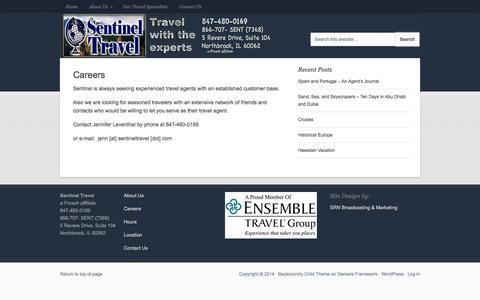 Screenshot of Jobs Page sentineltravel.com - Careers - Sentinel Travel, Northbrook, IL - captured Sept. 30, 2014