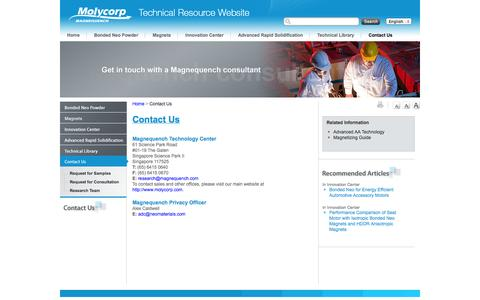 Screenshot of Contact Page mqitechnology.com - Contact Us   Magnequench - captured Oct. 4, 2014