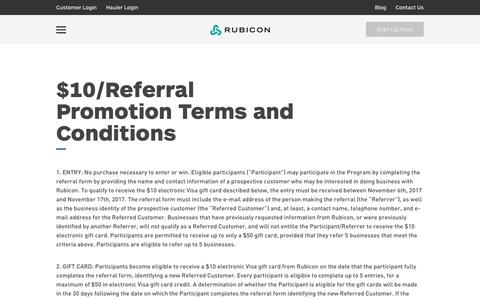 Rubicon Global - Customer Referral Program $10/Referral Promotion Terms and Conditions
