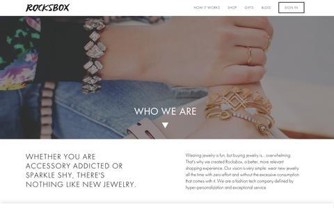 Screenshot of About Page Contact Page rocksbox.com - Rocksbox: The Premium Jewelry Subscription Box - captured Oct. 2, 2015