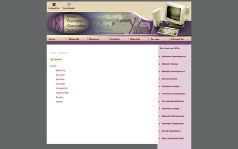 Screenshot of Site Map Page kbcsystems.com - Site Map :: KBC Systems a Software Development/ Web Development Company - captured Sept. 30, 2014