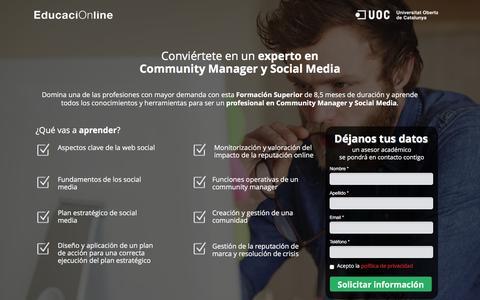 Screenshot of Landing Page educacionline.com - Curso de Community Manager Online | EducaciOnline - captured Oct. 20, 2016