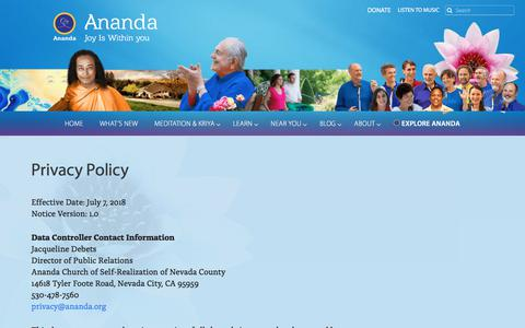 Screenshot of Privacy Page ananda.org - Privacy Policy — Ananda - captured Sept. 22, 2018