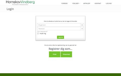 Screenshot of Login Page hornskovvindberg.dk - Login på HornskovVindbergs inkasso system - captured Feb. 1, 2016