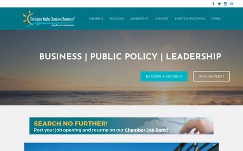 Screenshot of Home Page napleschamber.org - Greater Naples Chamber of Commerce - Home - captured Oct. 18, 2018