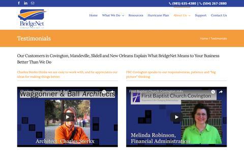 Screenshot of Testimonials Page bridgenetllc.com - Testimonials - captured Oct. 6, 2018
