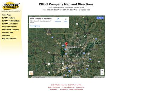 Screenshot of Maps & Directions Page elliottfoam.com - Map and directions to Elliott Company of Indianapolis, manufacturer of ELFOAM®. - captured July 30, 2017