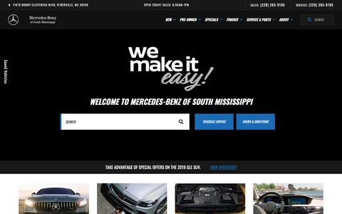 Screenshot of Home Page mbofsm.com - Mercedes-Benz of South Mississippi | Mercedes-Benz Dealer in D'Iberville, MS - captured Nov. 15, 2018