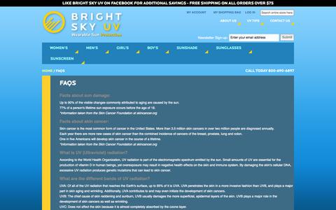 Screenshot of FAQ Page brightskyuv.com - FAQs - captured Sept. 30, 2014