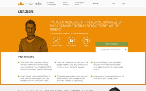 Screenshot of Case Studies Page crowdcube.com - Case Studies - captured June 21, 2015